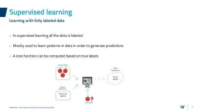 4 o In supervised learning all the data is labeled o Mostly used to learn patterns in data in order to generate prediction...