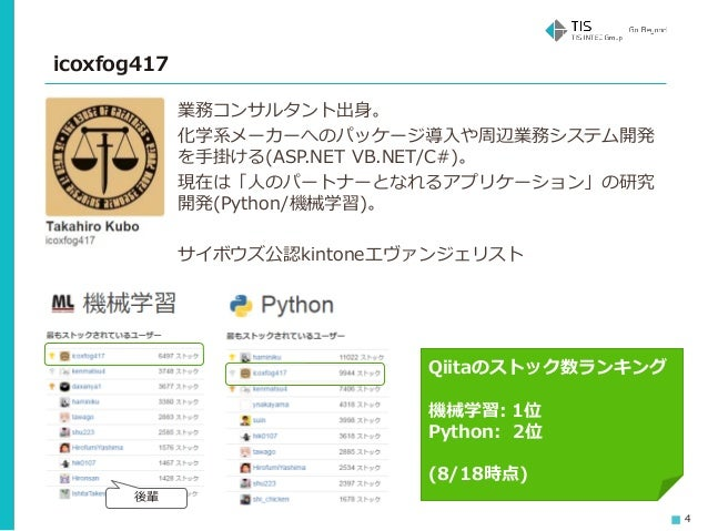 4 業務コンサルタント出身。 化学系メーカーへのパッケージ導入や周辺業務システム開発 を手掛ける(ASP.NET VB.NET/C#)。 現在は「人のパートナーとなれるアプリケーション」の研究 開発(Python/機械学習)。 サイボウズ公認k...