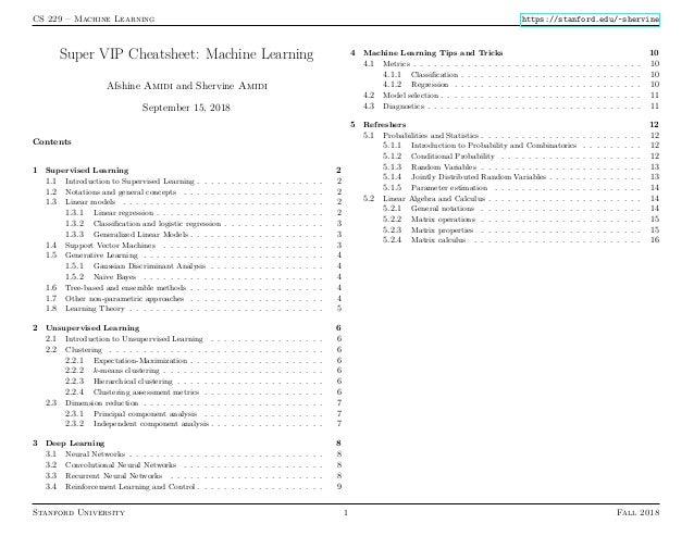 CS 229 – Machine Learning https://stanford.edu/~shervine Super VIP Cheatsheet: Machine Learning Afshine Amidi and Shervine...