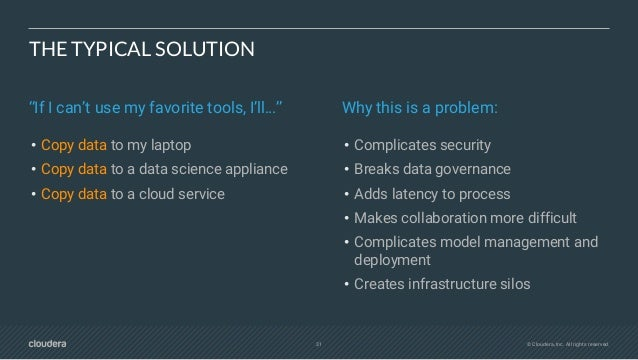 33 © Cloudera, Inc. All rights reserved. CDSW ARCHITECTURE Extends traditional clusters with new ML capabilities • Built w...