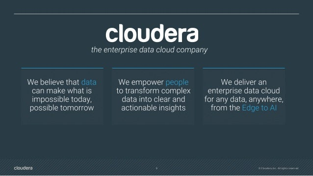 10 © Cloudera, Inc. All rights reserved. WHY CLOUDERA? One stop shop for analytics Unified open architecture Hybrid and mu...