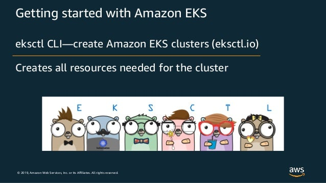 © 2019, Amazon Web Services, Inc. or its Affiliates. All rights reserved. Getting started with Amazon EKS eksctl CLI—creat...