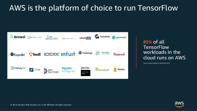 © 2019, Amazon Web Services, Inc. or its Affiliates. All rights reserved. AWS is the platform of choice to run TensorFlow ...