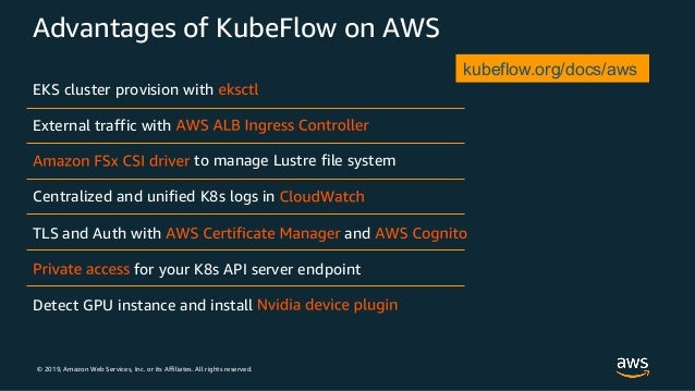© 2019, Amazon Web Services, Inc. or its Affiliates. All rights reserved. Advantages of KubeFlow on AWS EKS cluster provis...