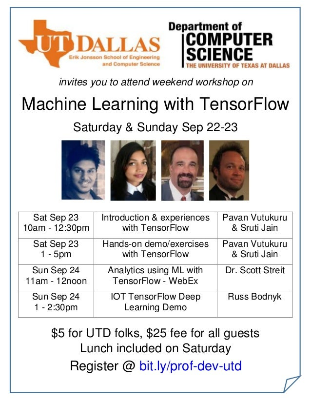 invites you to attend weekend workshop on Machine Learning with TensorFlow Saturday & Sunday Sep 22-23 Sat Sep 23 10am - 1...