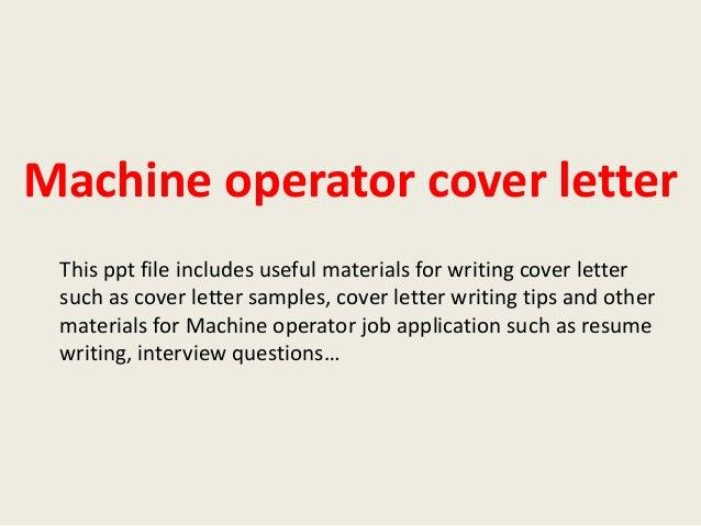 cover letter machine operator