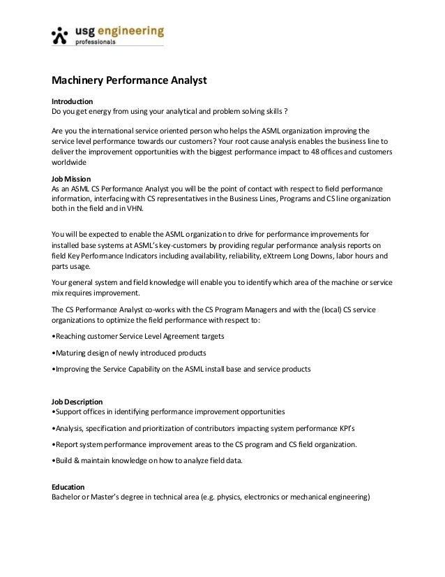 Machinery performance analyst