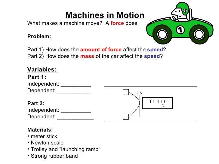 <ul><li>Machines in Motion </li></ul><ul><li>What makes a machine move?  A  force  does.  </li></ul><ul><li>Problem: </li>...