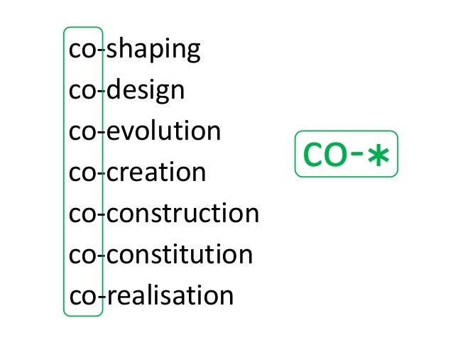 co-shaping co-design co-creation co-constitution co-evolution co-construction co- co-realisation