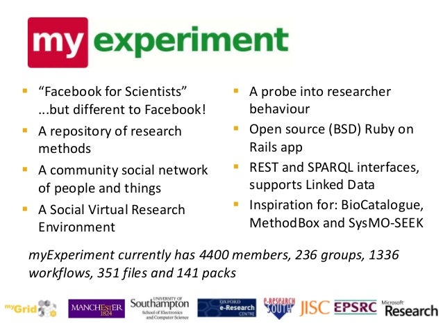 """ """"Facebook for Scientists"""" ...but different to Facebook!  A repository of research methods  A community social network ..."""
