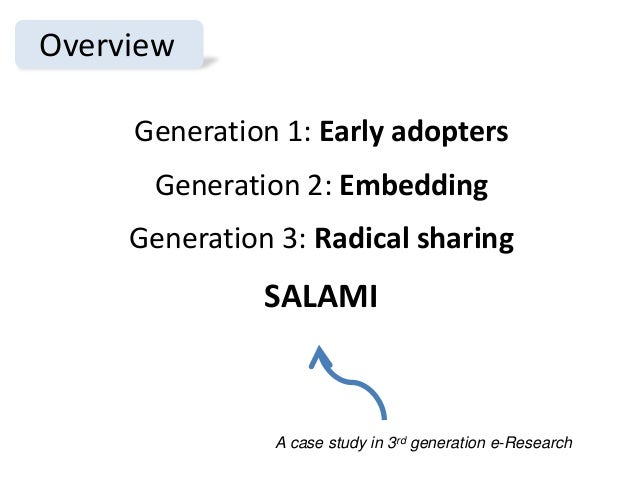 Overview Generation 1: Early adopters Generation 2: Embedding Generation 3: Radical sharing SALAMI A case study in 3rd gen...