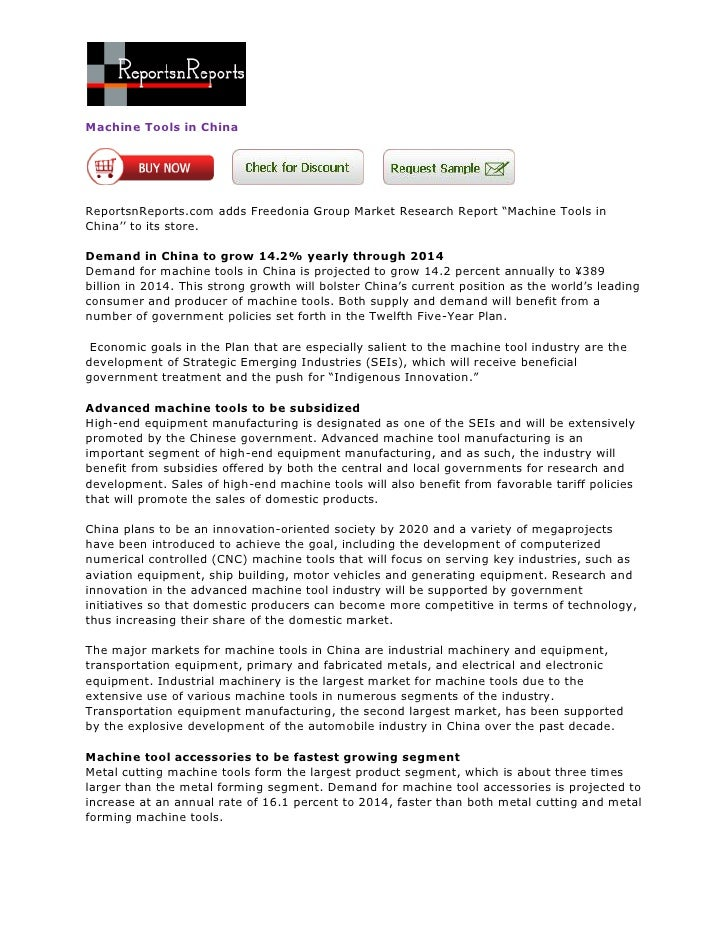 """Machine Tools in ChinaReportsnReports.com adds Freedonia Group Market Research Report """"Machine Tools inChina'' to its stor..."""