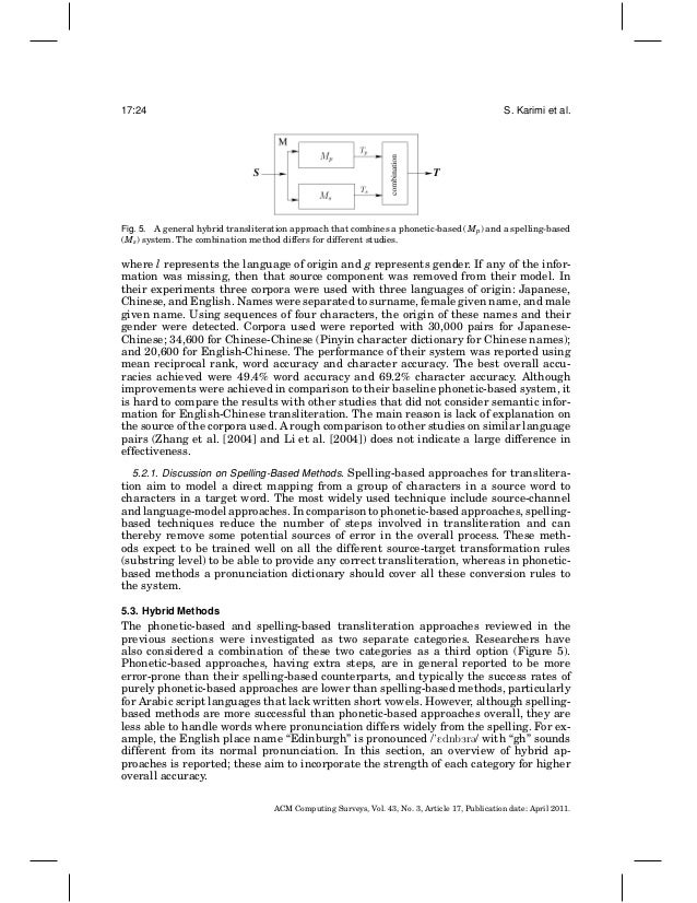 Machine transliteration survey