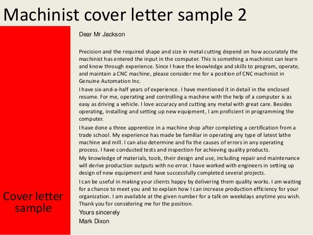 machinist cover letter sample 2 dear mr jackson cover letter