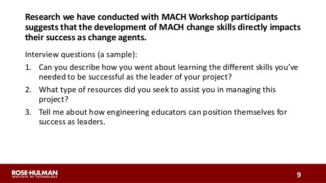 Research we have conducted with MACH Workshop participants suggests that the development of MACH change skills directly im...