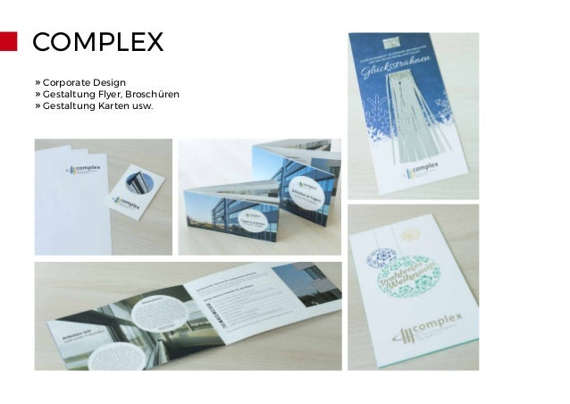 COMPLEX » Corporate Design » Gestaltung Flyer, Broschüren » Gestaltung Karten usw.
