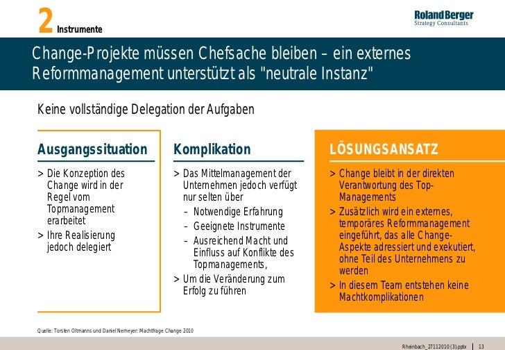"""2       InstrumenteChange-Projekte müssen Chefsache bleiben – ein externesReformmanagement unterstützt als """"neutrale Insta..."""