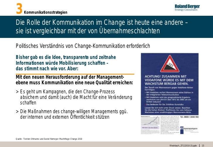 3       KommunikationsstrategienDie Rolle der Kommunikation im Change ist heute eine andere –sie ist vergleichbar mit der ...