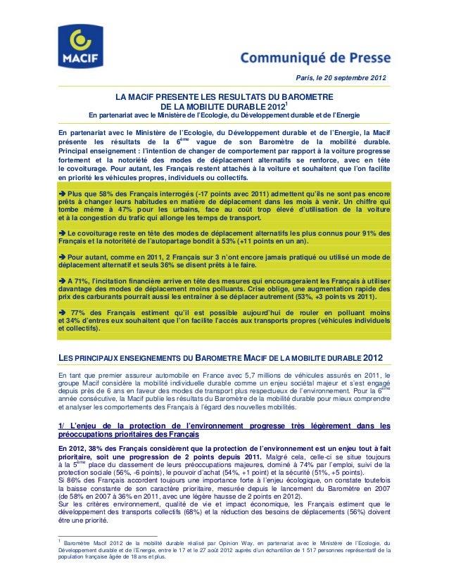 Paris, le 20 septembre 2012                      LA MACIF PRESENTE LES RESULTATS DU BAROMETRE                             ...