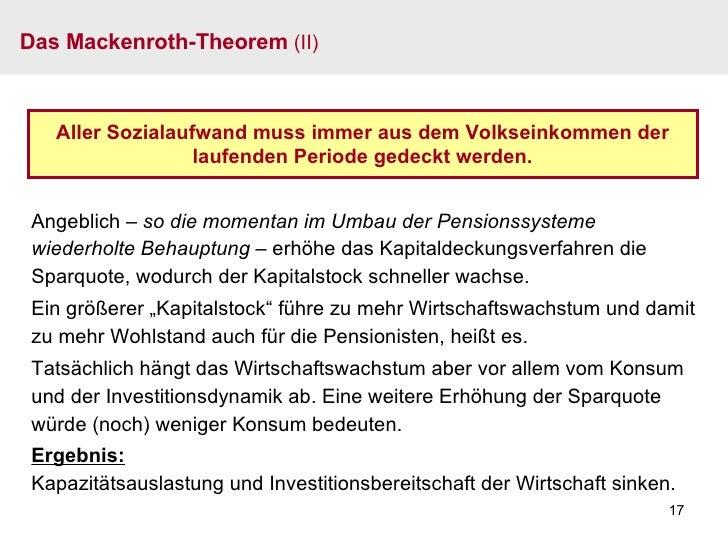 Das Mackenroth-Theorem  (II) Aller Sozialaufwand muss immer aus dem Volkseinkommen der laufenden Periode gedeckt werden. A...