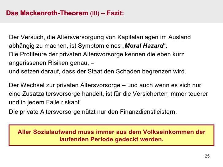 Das Mackenroth-Theorem  (III)  – Fazit: Aller Sozialaufwand muss immer aus dem Volkseinkommen der laufenden Periode gedeck...
