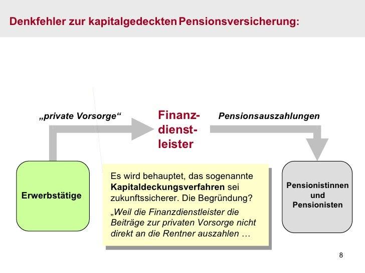 """Finanz- dienst- leister """" private Vorsorge"""" Pensionsauszahlungen Es wird behauptet, das sogenannte  Kapitaldeckungsverfahr..."""