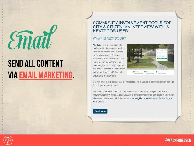 Send all content via email marketing. Email @Mackfogelson