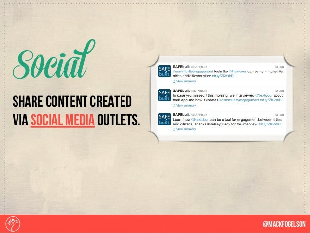 share content created via social media outlets. Social @Mackfogelson