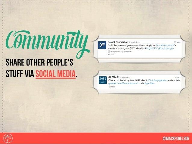 share other people's stuff via social media. Community @Mackfogelson