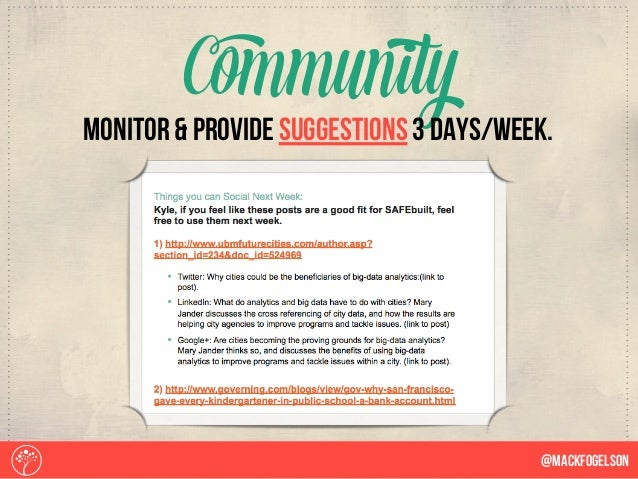 Community @Mackfogelson monitor & provide suggestions 3 days/week.