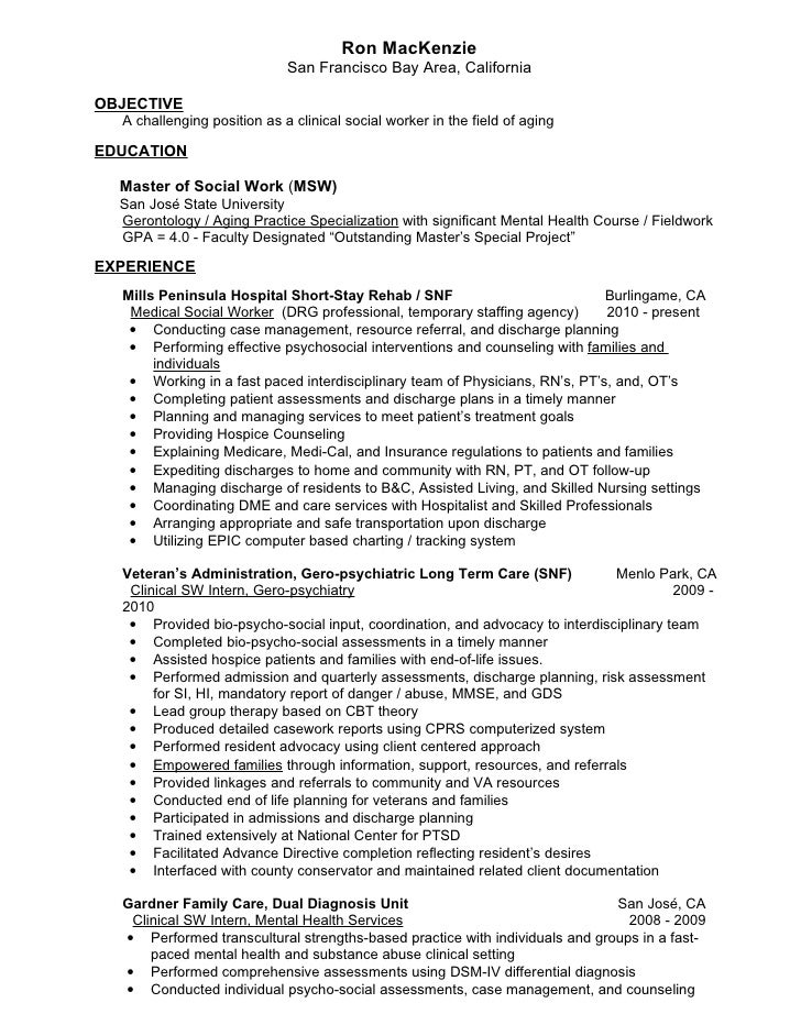 ron mackenzie san francisco bay area california objective a - Social Worker Resume