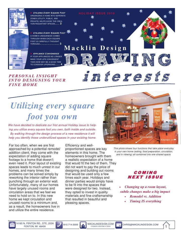 2010 Holiday Issue of Macklin Design Drawing Interests Newsletter