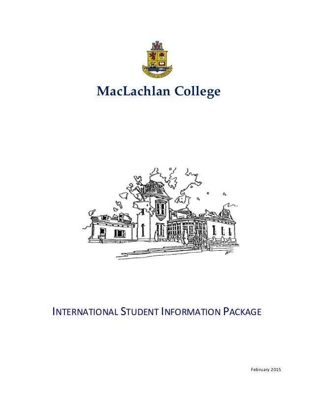 Maclachin college-international student information package