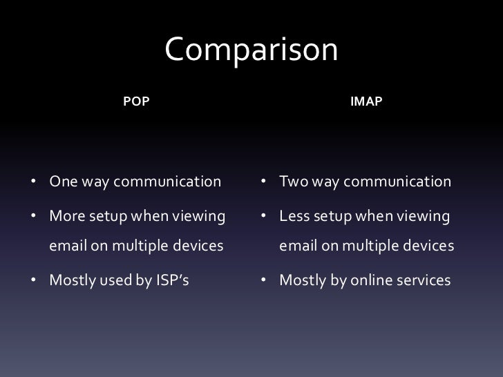 Mail POP vs IMAP