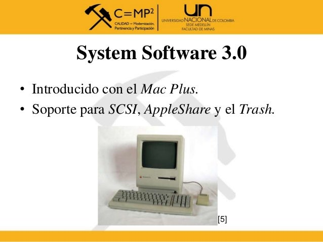 System Software 3.0 • Introducido con el Mac Plus. • Soporte para SCSI, AppleShare y el Trash. [5]