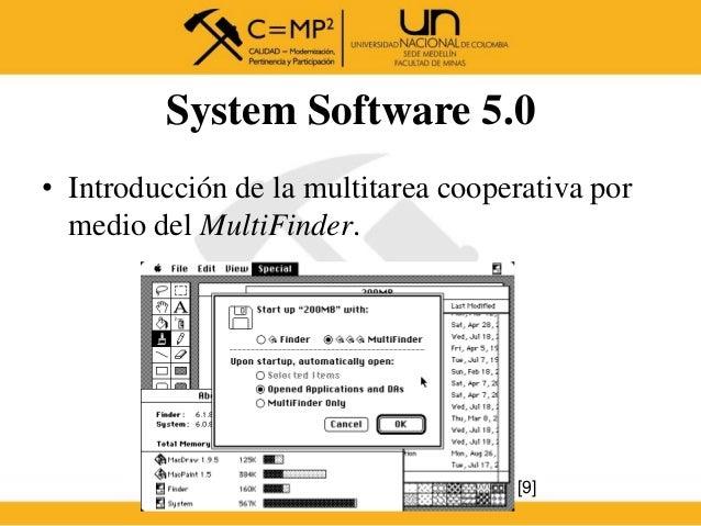 System Software 5.0 • Introducción de la multitarea cooperativa por medio del MultiFinder. [9]