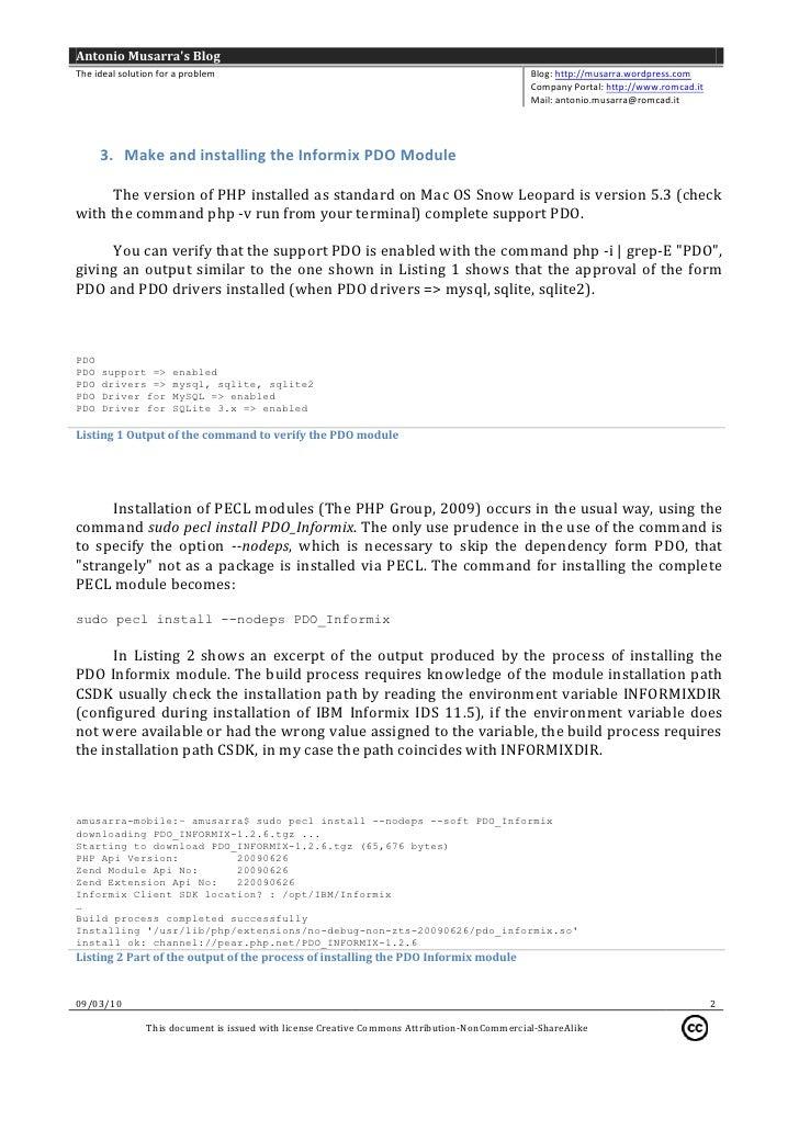 Mac OS X Snow Leopard & Informix 11 5 + PHP 5 3 + PDO