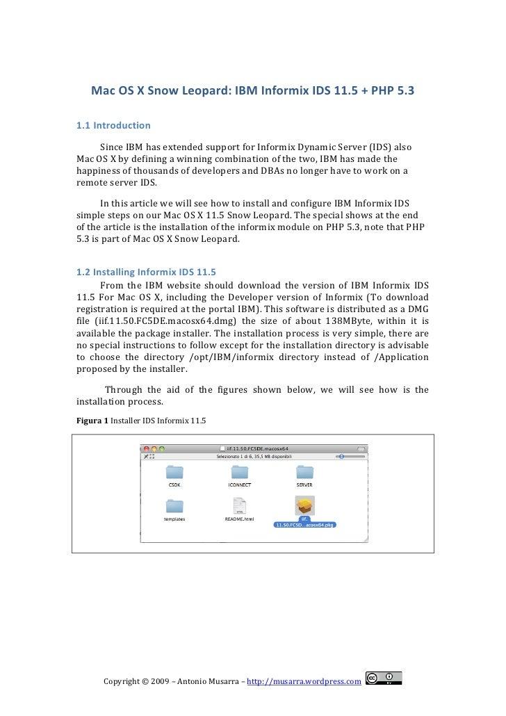 Mac OS X Snow Leopard & Informix IDS 11 5 + PHP5