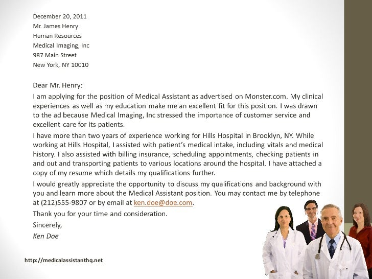 Medical assistant cover letter samples for Samples of cover letters for medical assistant