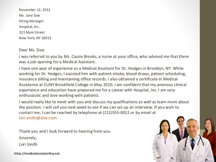 letter of recommendation medical assistant