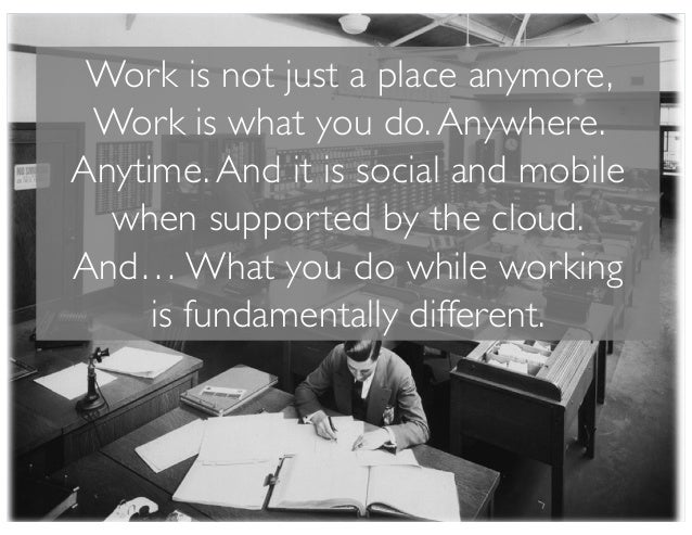 Work is not just a place anymore, Work is what you do.Anywhere. Anytime.And it is social and mobile when supported by the ...