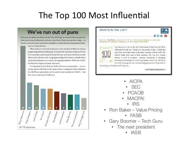 The Top 100 Most InfluenAal                                    • AICPA                                    • SEC...