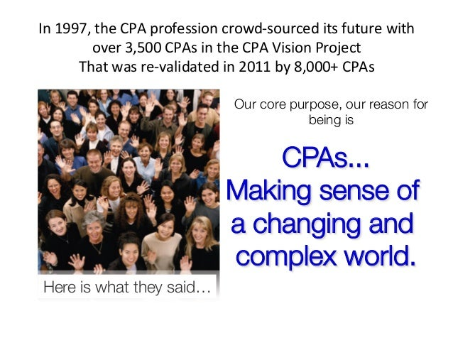 In 1997, the CPA profession crowd-‐sourced its future with             over 3,500 CPAs in the ...