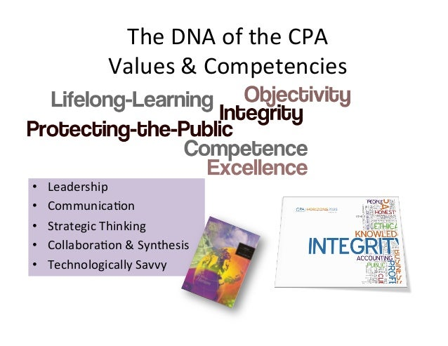 The DNA of the CPA                    Values & Competencies •   Leadership •   CommunicaAon •   Str...