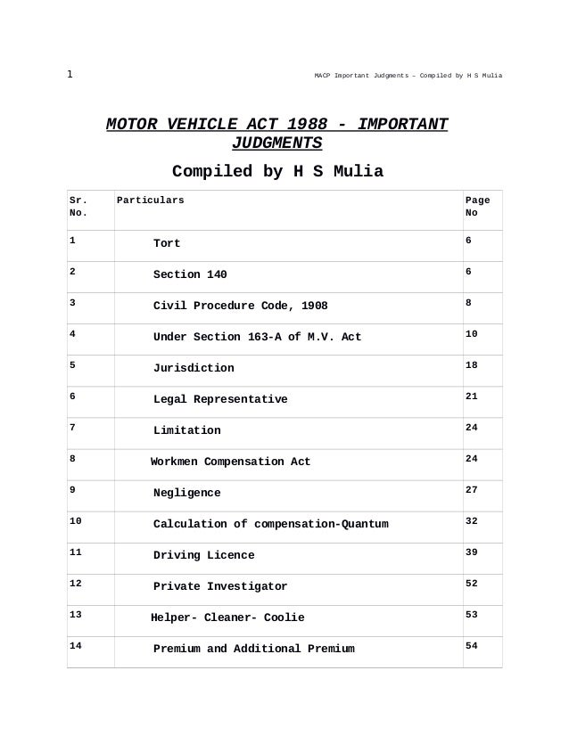 1 MACP Important Judgments – Compiled by H S Mulia MOTOR VEHICLE ACT 1988 - IMPORTANT JUDGMENTS Compiled by H S Mulia Sr. ...