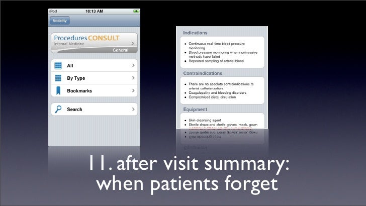 11. after visit summary:  when patients forget