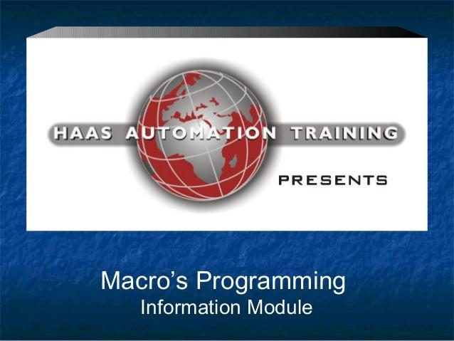 Macro's ProgrammingInformation Module