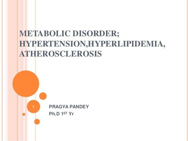 METABOLIC DISORDER; HYPERTENSION,HYPERLIPIDEMIA, ATHEROSCLEROSIS PRAGYA PANDEY Ph.D 1ST Yr 1