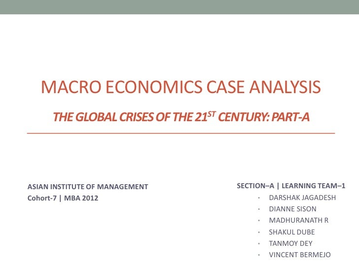 MACRO ECONOMICS CASE ANALYSIS      THE GLOBAL CRISES OF THE 21ST CENTURY: PART-AASIAN INSTITUTE OF MANAGEMENT         SECT...