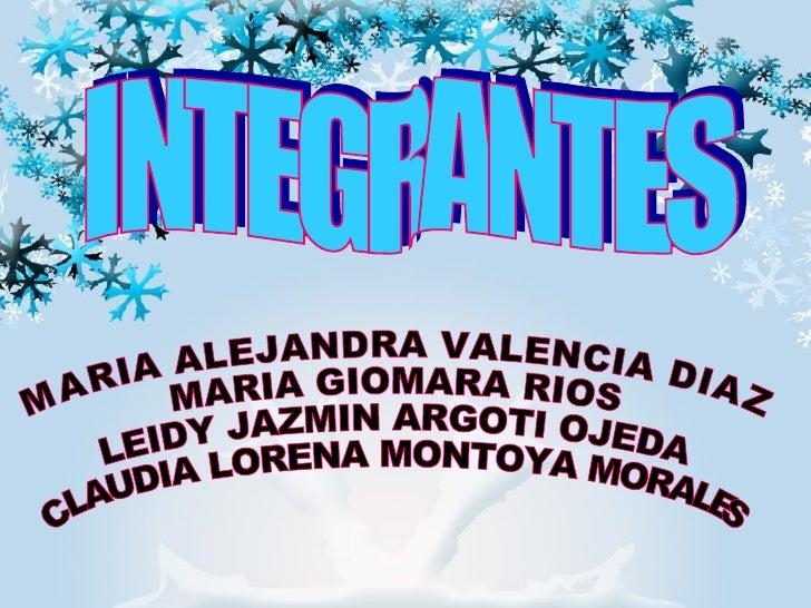 INTEGRANTES MARIA ALEJANDRA VALENCIA DIAZ MARIA GIOMARA RIOS  LEIDY JAZMIN ARGOTI OJEDA C LAUDIA LORENA MONTOYA MORALES